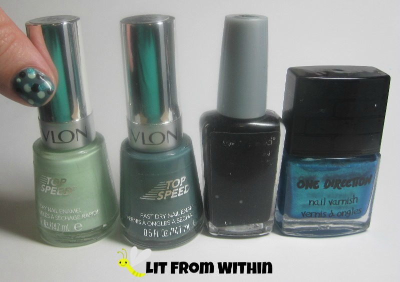 Bottle shot:  Revlon Jaded, Revlon Essence, Wet 'n Wild Black Creme , and One Direction Na Na Na.