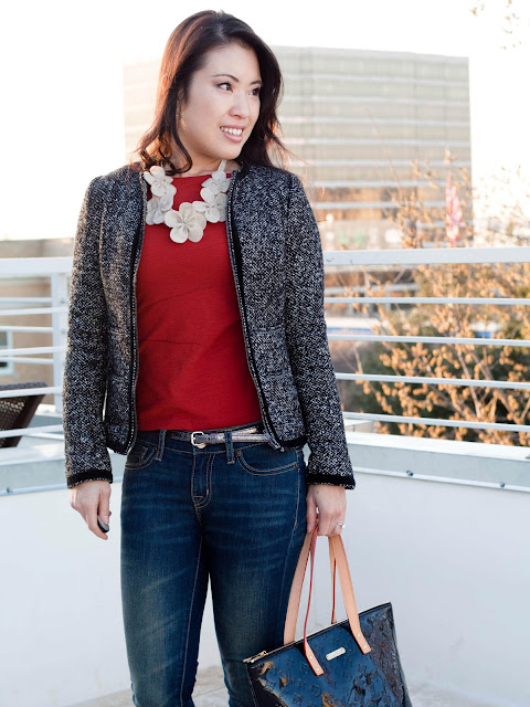 bb dakota herringford tweed jacket urban outfitters bdg jeans flower bib necklace louis vuitton bellevue