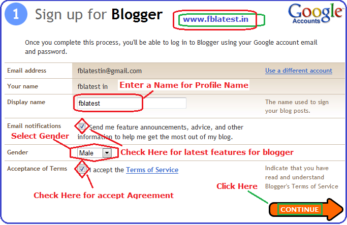 how to create a blog account