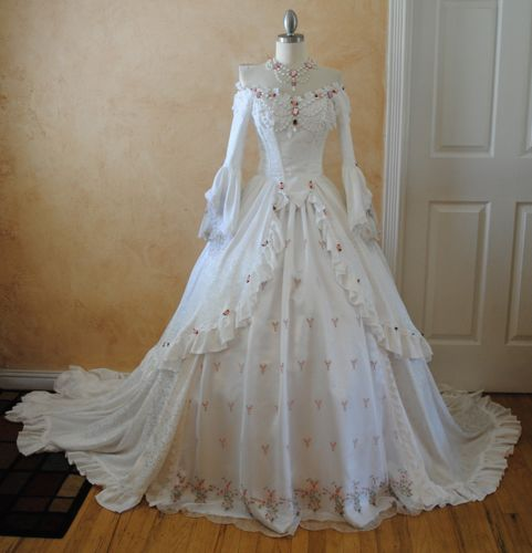 Elegant White Off Shoulder Victorian Wedding Dress