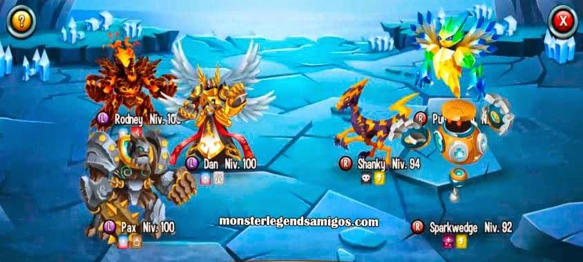 imagen de la batalla de la mazmorra los señores del relampago de monster legends