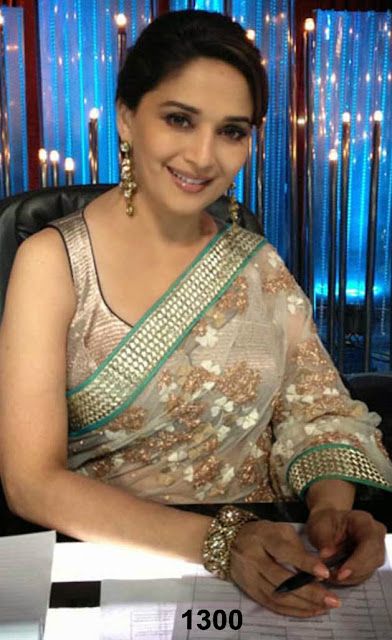 Madhuri dixit Ivory color saree At jhalak