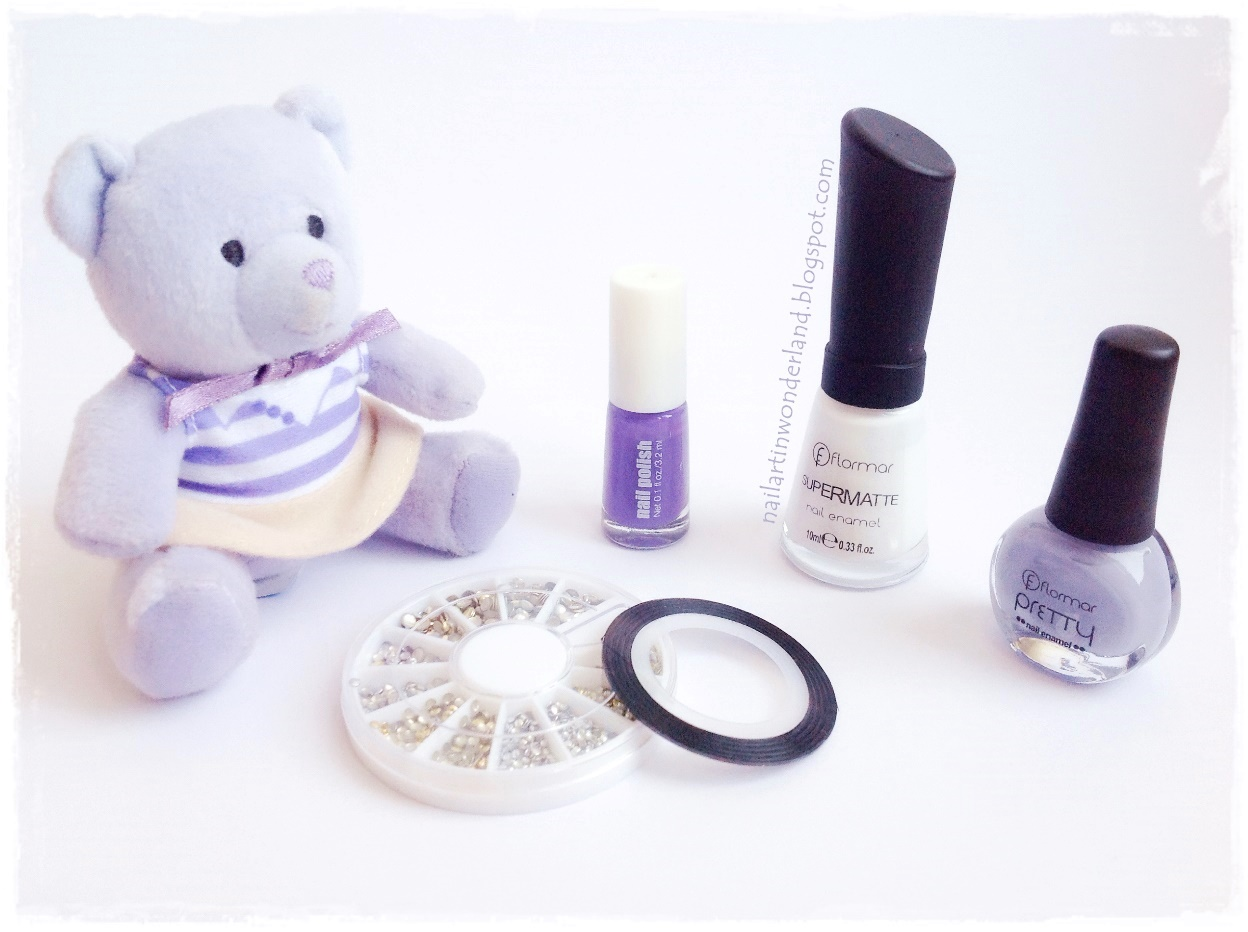 Cute Teddy Bear Nail Art - Flormar Nail Polishes & Born Pretty Store Studs