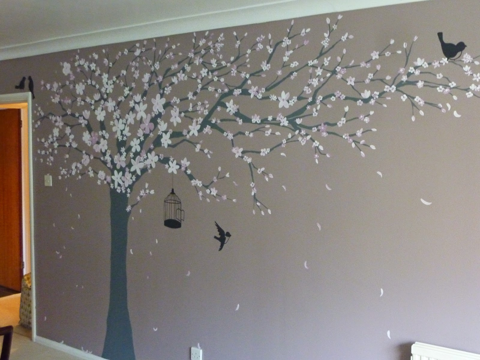 Joanna perry top mural artist hand painting murals for Cherry blossom mural works