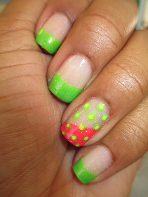 Frenchie, neon green, hot pink, nerd alert screech, pom pom kelly, polka dot, nail art, nail design, mani