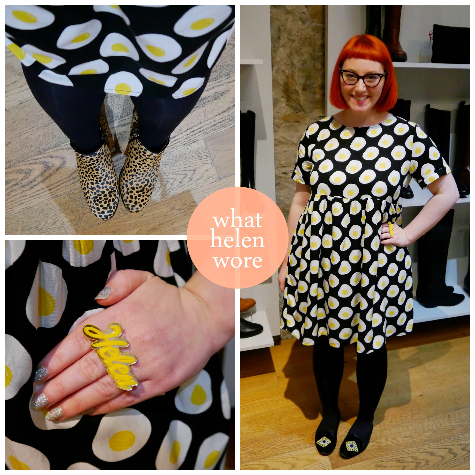 What Helen Wore, Edinburgh Bloggers, Scottish Fashion Blogger, The Whitepepper, Egg dress, egg print dress, Bonnie Bling, Bonnie Bling name ring, name ring, ankle boots, leopard print