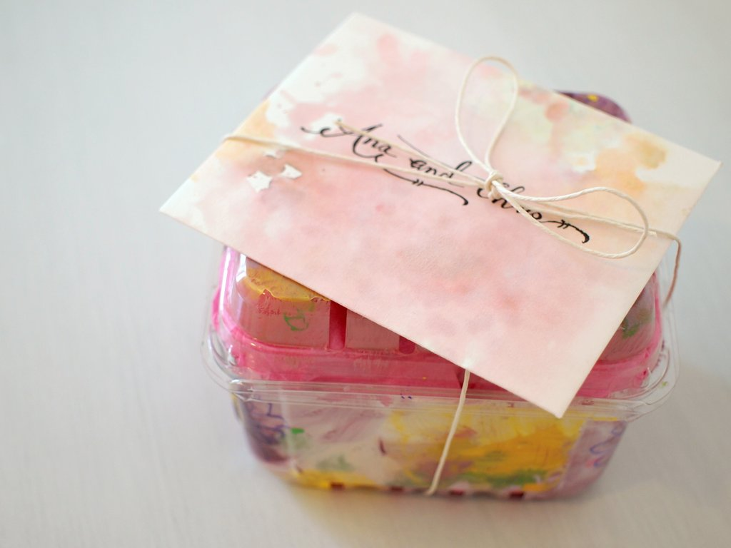 Homemade watercolor card and upcycled strawberry container gift box ...