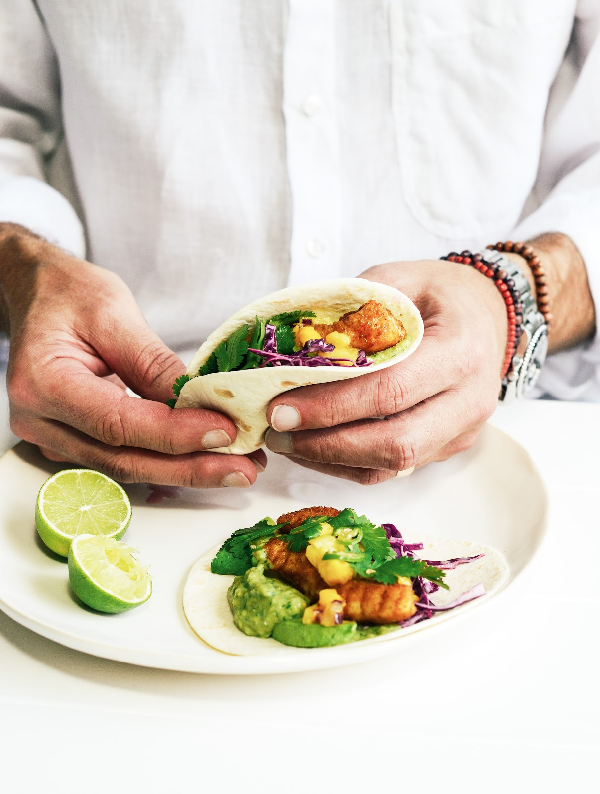 From the kitchen spicy fish tacos with mexican salsa verde for Spicy fish tacos