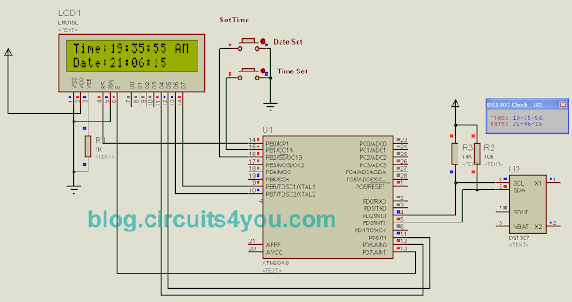Real Time Clock DS1307 Interfacing with ATmega8