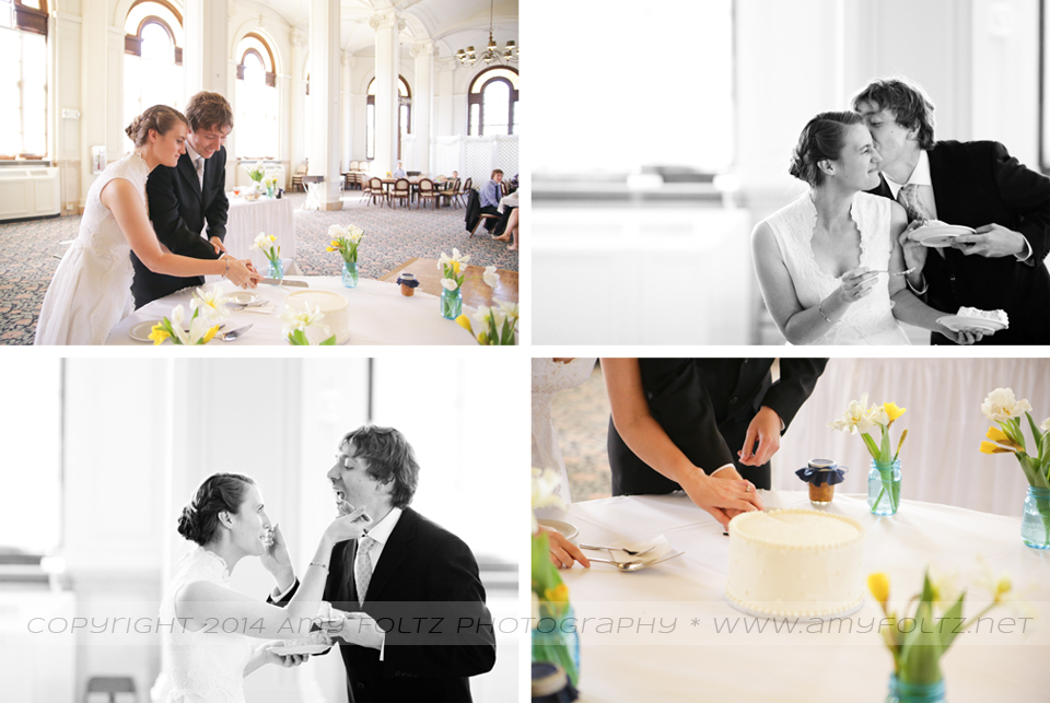 photos of cake cutting at wedding reception at St. Mary-of-the-Woods College in West Terre Haute, IN