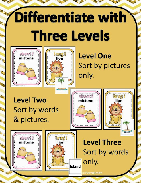 Fern Smith's Classroom Ideas - Fern's Freebie Friday ~ Vowel Sorting Short i & Long i Interactive Notebook Activity at TeacherspayTeachers.