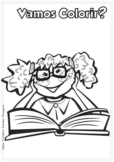 Dia do Livro Infantil/ Dia do Estudante desenho pra colorir