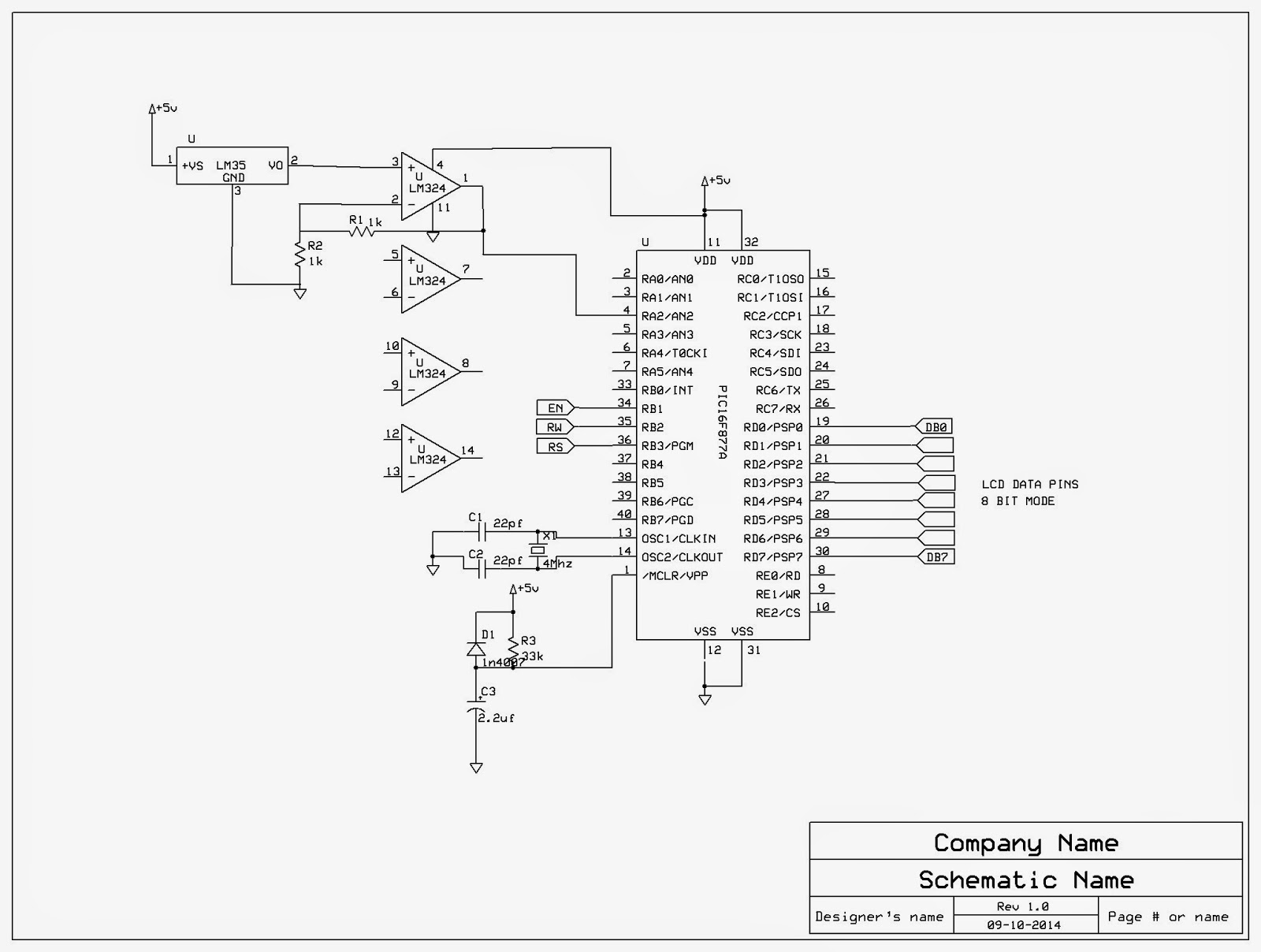 Pic Interface With Lm35 Pic16f877a Projects Digital Thermometer Circuit Diagram The Hitech C Program For Is As Given Below Explanation Of Can Be Found From Line Comments