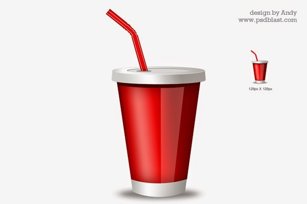 Red Drink Glass Icon PSD
