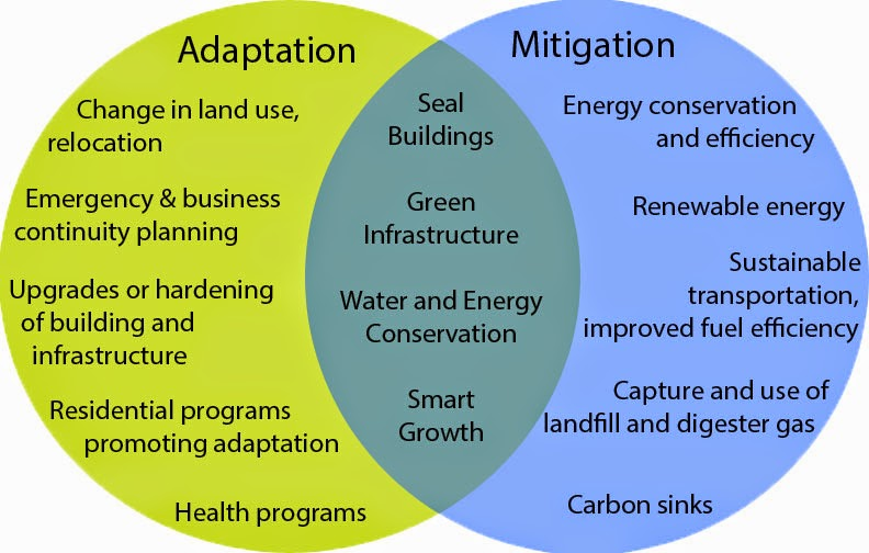 The figure demonstrates the overlap between adaptation and mitigation. (Credit: Penney 2008) Click to enlarge.