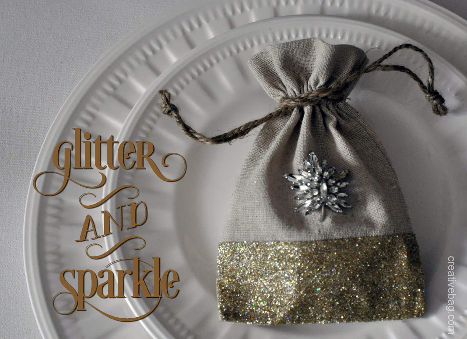 great inspiration and tutorial using Martha Stewart decoupage and glitter on fabric favor bags and more | creativebag.com