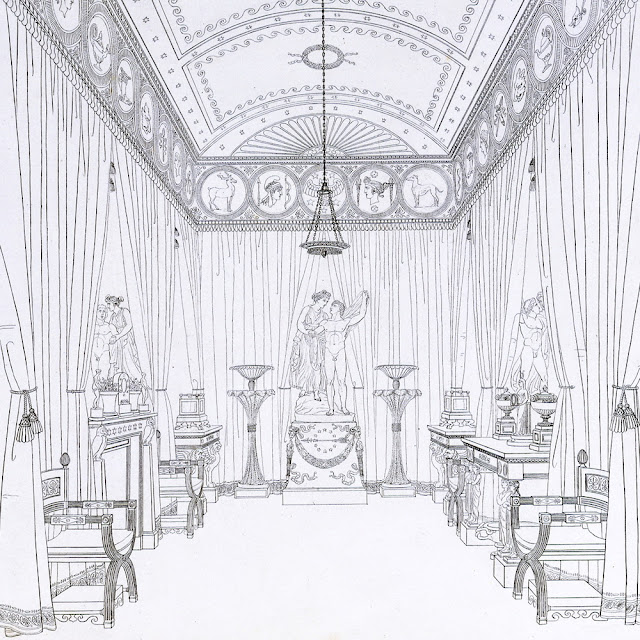 'The Aurora Room', Plate 7, 'Household Furniture & Interior Decoration', by Thomas Hope, London, UK, 1807.