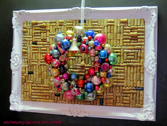 vintage christmas ornament wreath on large cork board from mommy is coocoo