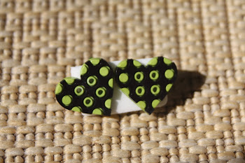 Retro black and green heart buttons