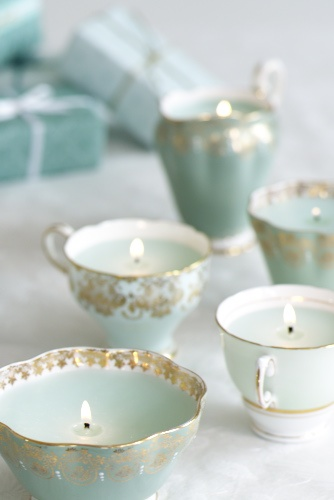 Teacup candle holders made for great tablescape decoration