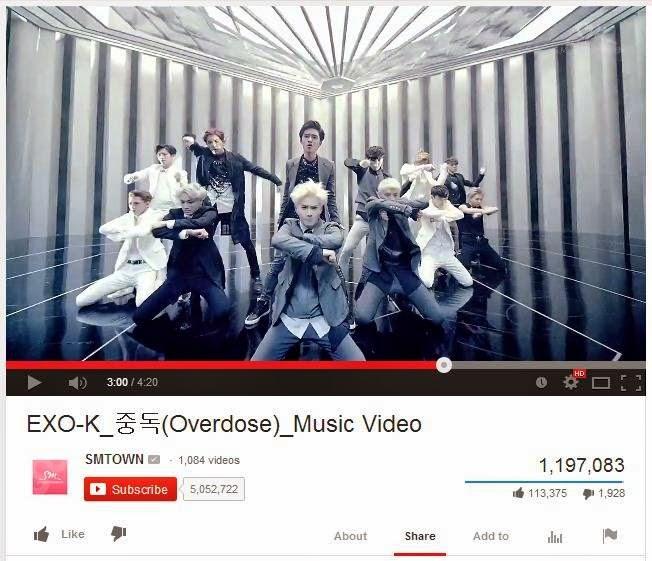 Video Klip Overdose Exo Ditonton tembus 1 Juta penonton dalam 10 jam