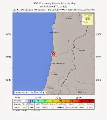 Epicentro sismo 5,7 grados en Norte de Chile, el 17 de Diciembre de 2013