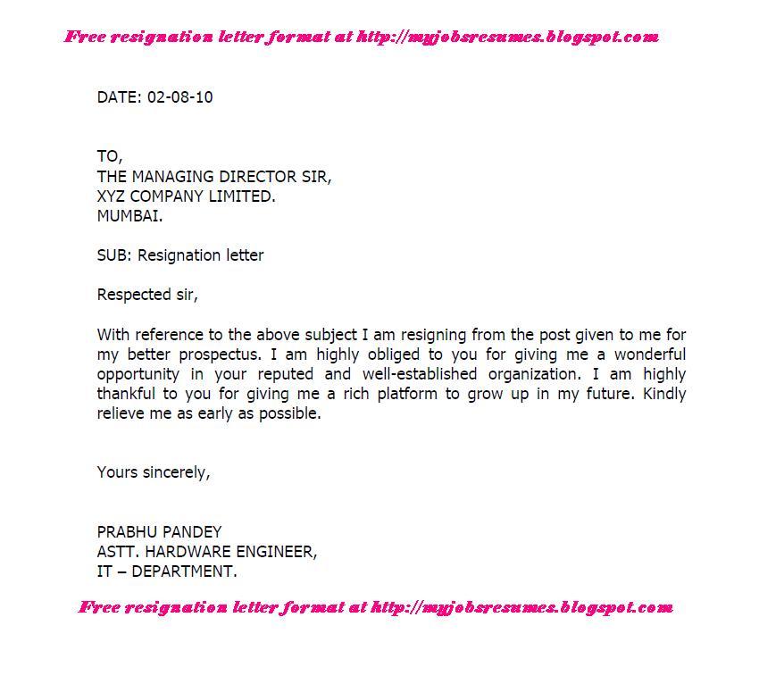 regisnation letter format
