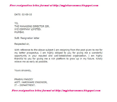 resignation letter format free download in word format - Resignation Format