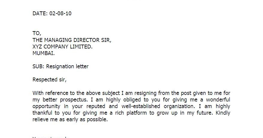 Lab Technician Resignation Letter Format