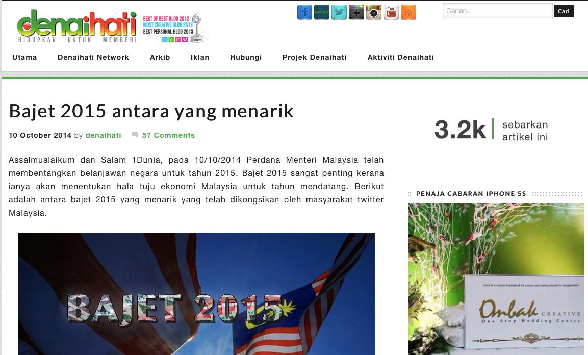 Komen Bajet 2015 Blogger Denaihati dan Cendol Banting Apa kes