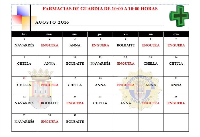 FARMACIAS DE GUARDIA MES DE AGOSTO 2016