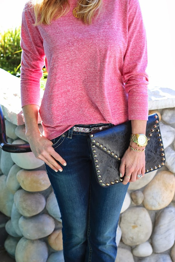 glitter belt and studded clutch