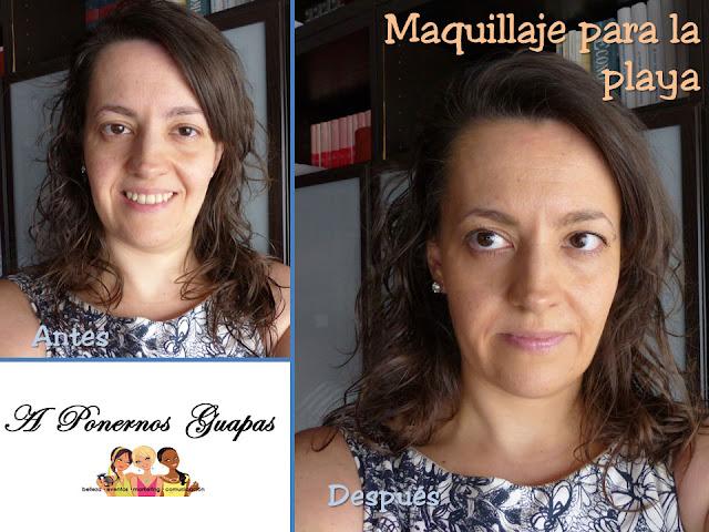 Maquillaje para la playa antes y después