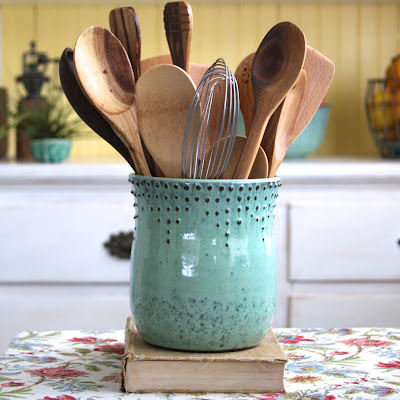 stoneware utensil holder - aqua color