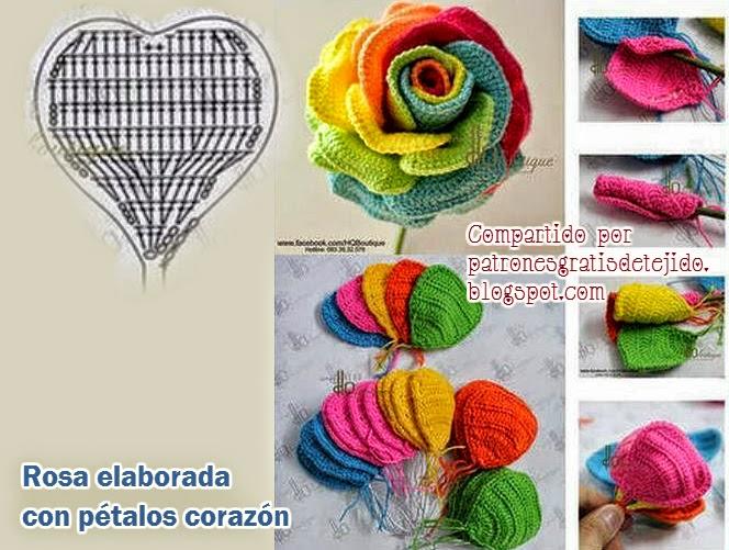 Rosa al crochet tejida en pétalos individuales