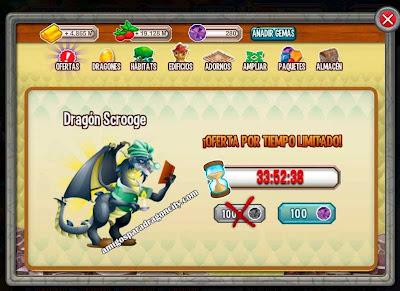 imagen del scrooge dragon por 100 gemas en dragon city