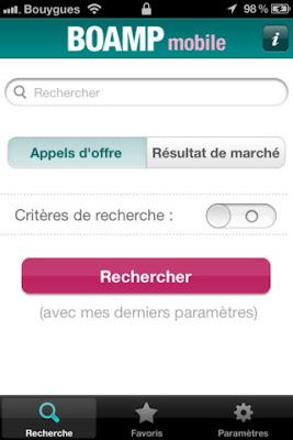 formulaire recherche BOAMP mobile