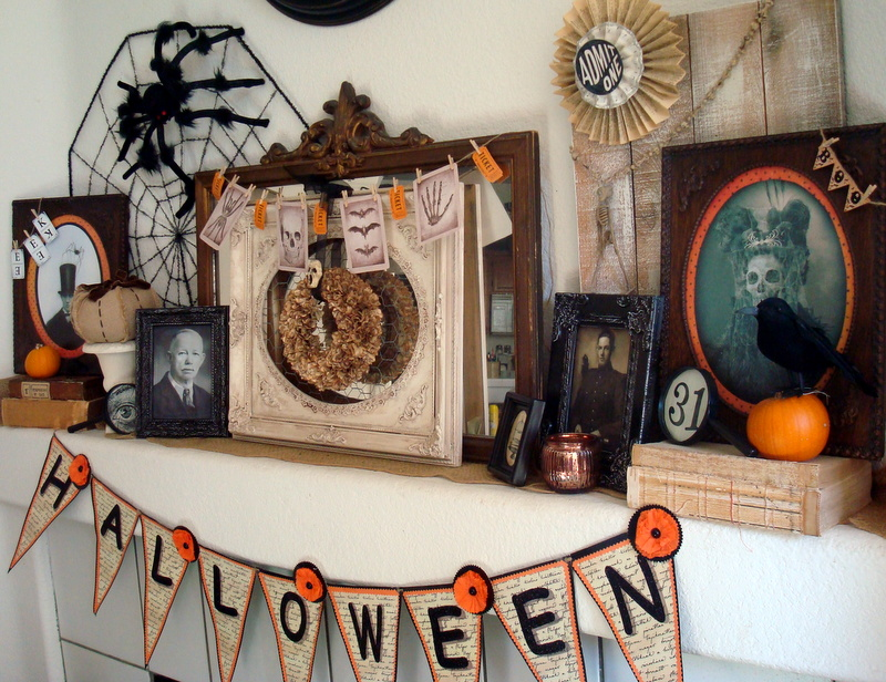 my vintage victorian halloween mantel - Halloween Mantle