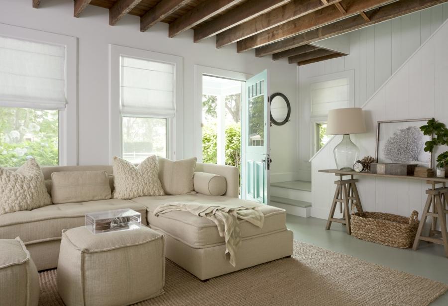 wystrój wnętrz, wnętrza, urządzanie mieszkania, dom, home decor, dekoracje, aranżacje, Hamptons style, styl Hamptons, styl skandynawski, scandinavian style, cottage by the sea, domek nad morzem, letni dom, białe wnętrza, salon