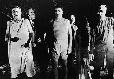 The zombies, referred to as ghouls, in Night of the Living Dead
