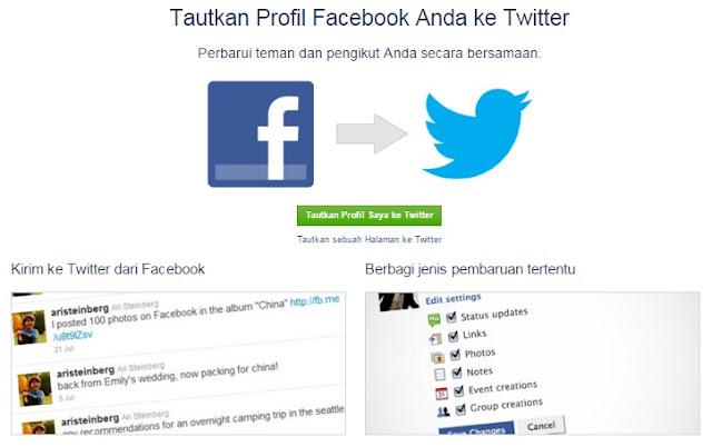 Cara Menautkan Fanspage Facebook ke Twitter