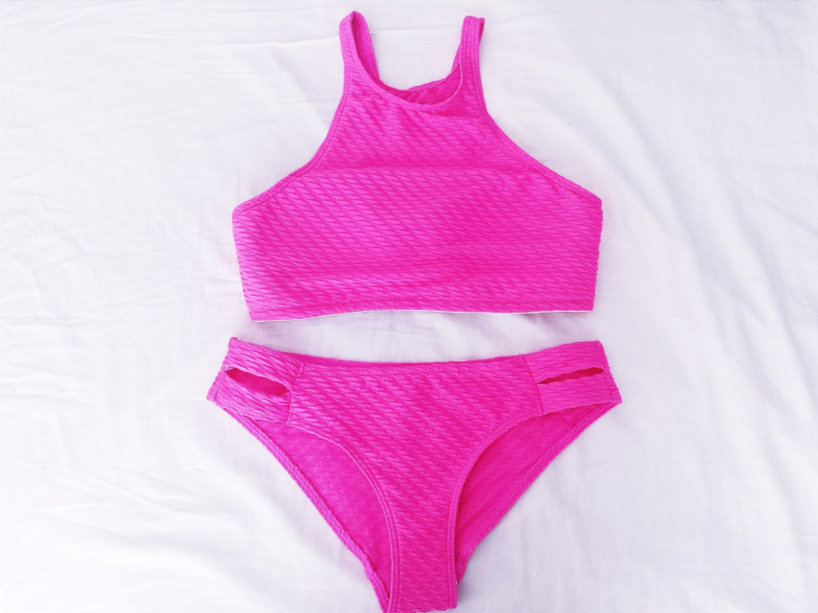 New Look Bright Pink High Neck Neon Bikini