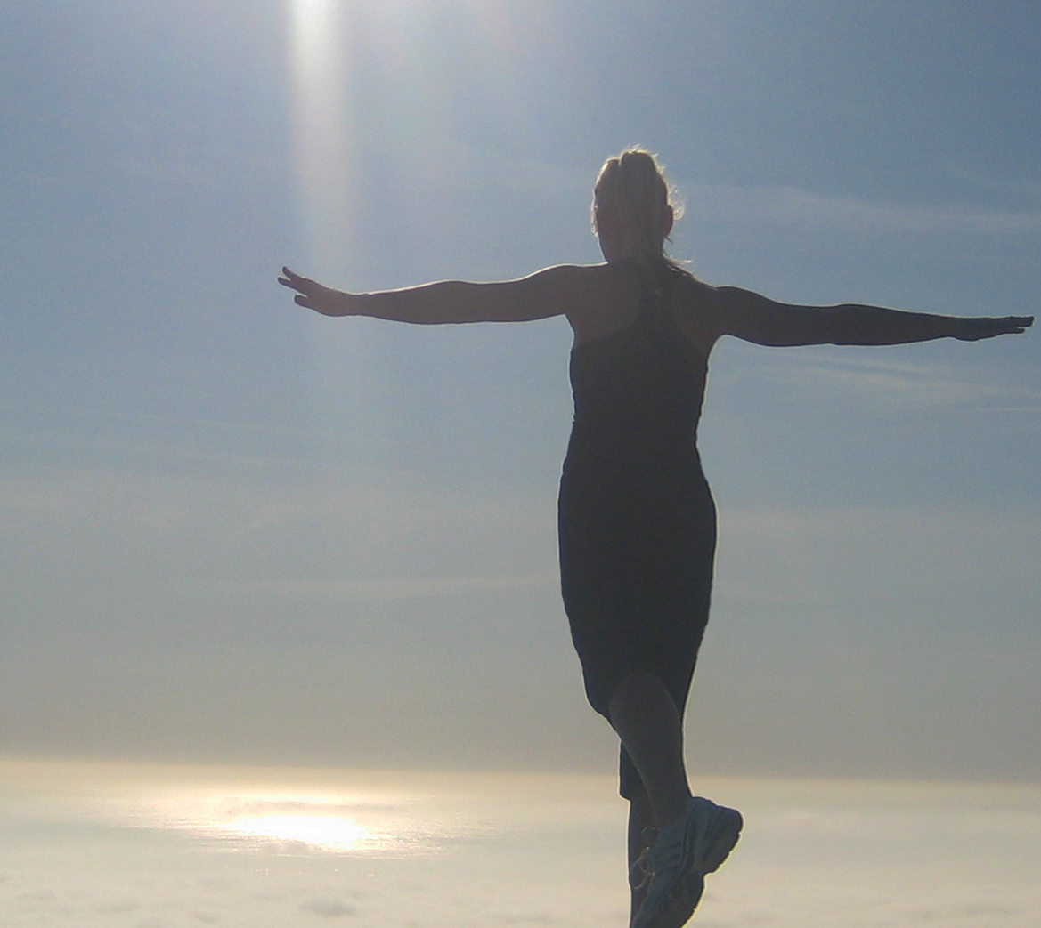 Alex Big Jumps -  above the clouds, Palos Verdes overlooking cloud-covered ocean,  image by lb for linenandlavender.net - http://www.linenandlavender.net/2013/10/courage-and-fear.html