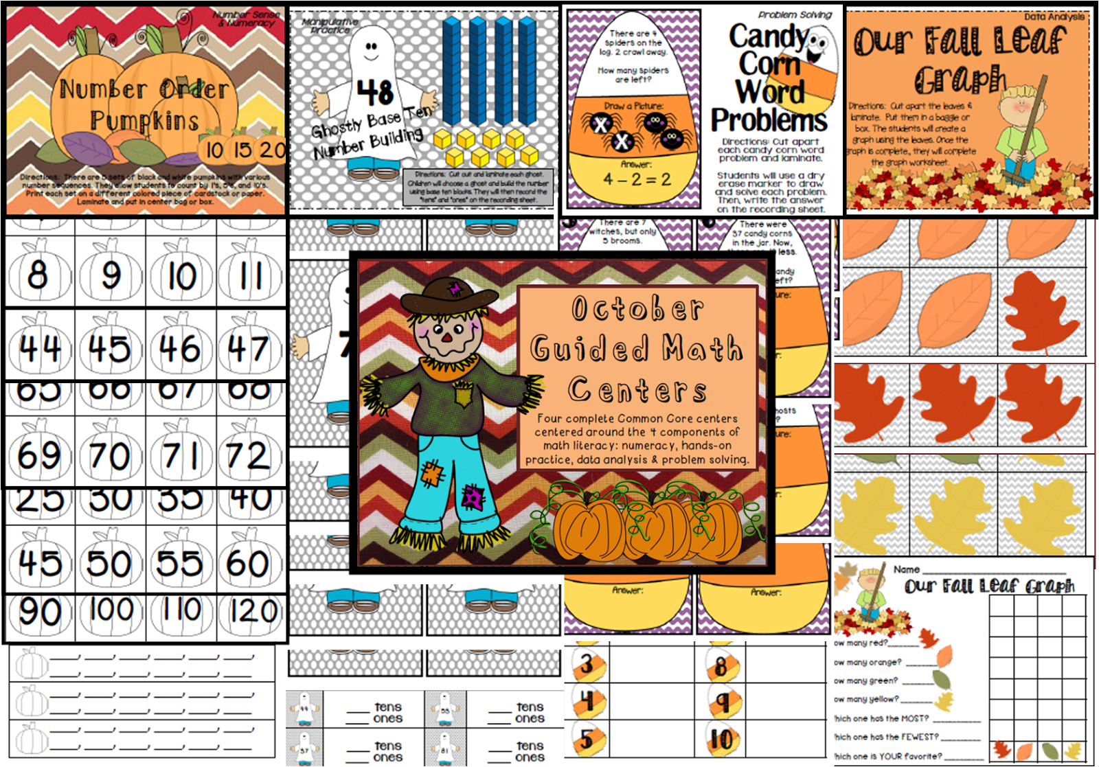 http://www.teacherspayteachers.com/Product/October-Guided-Math-Centers-910999