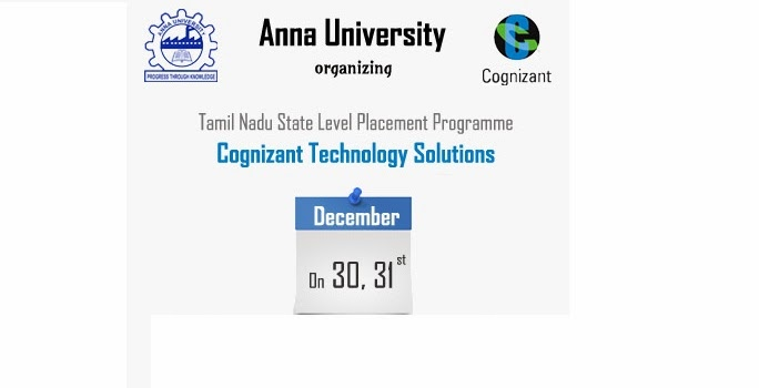 CTS - Cognizant Technology Solution Off-Campus Drive For 2013 Batch BE/BTech Graduates on 30th and 31st December 2013 at Sri Muthukumaran  Institute of Technology Chennai Organized by Anna University