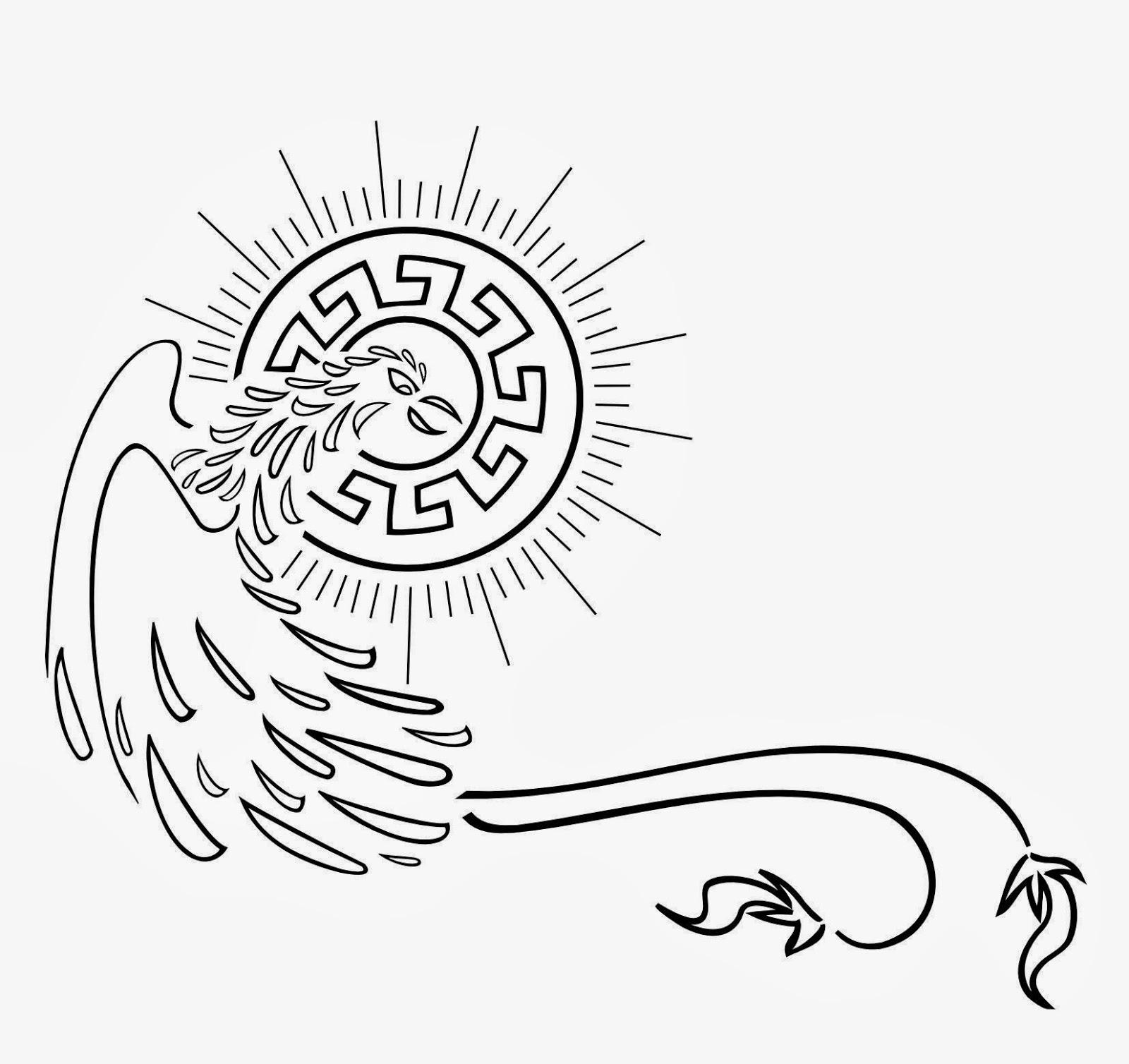 Phoenix Aztec sun tattoo stencil