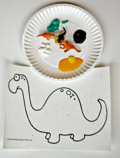 Paint and dinosaur outline printable