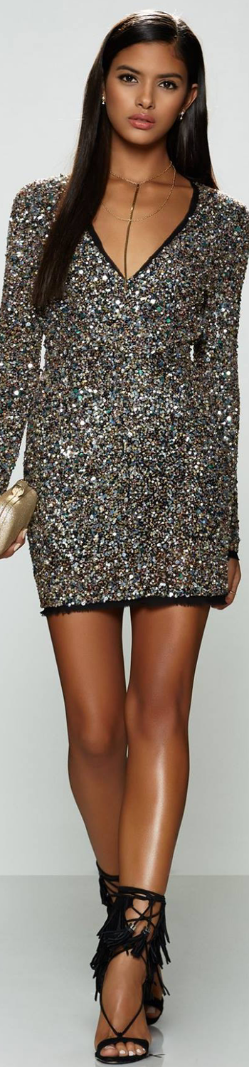 RACHEL ZOE Micah Dress Confetti Sequin