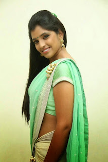 Anchor Shyamala Latest Cute Hot Exclusive Green Saree Navel Show Spicy