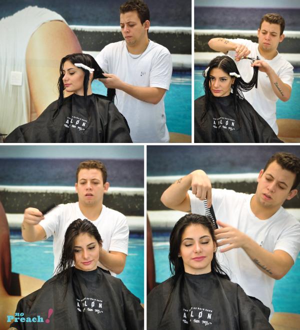 Salão Platinum Visage - Corte de cabelo desfiado com navalha feather.